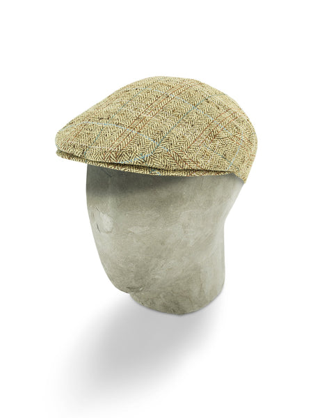Yellow Silk Herringbone Flat Cap with a Brown & Blue Overcheck