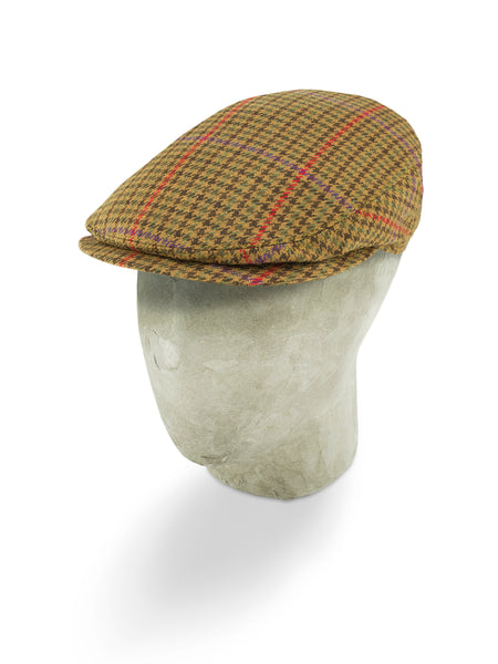 Brown Houndstooth Cashmere Flat Cap