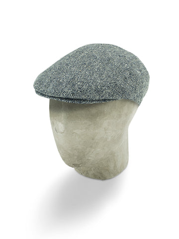 Grey Herringbone Silk Flat Cap