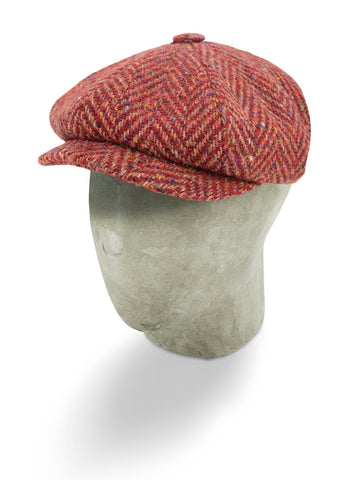 Red Mottle Woollen Herringbone Gatsby Cap