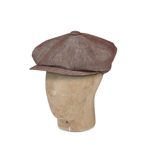 Plain Brown Linen Gatsby Cap