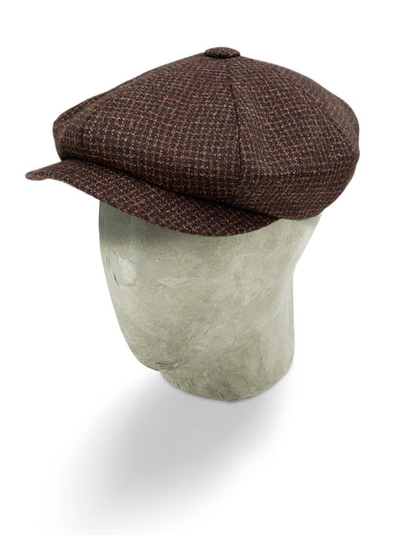 Burgundy Checked Woollen Twill Gatsby Cap