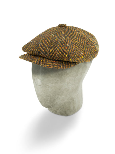Brown Herringbone Wool Gatsby Cap