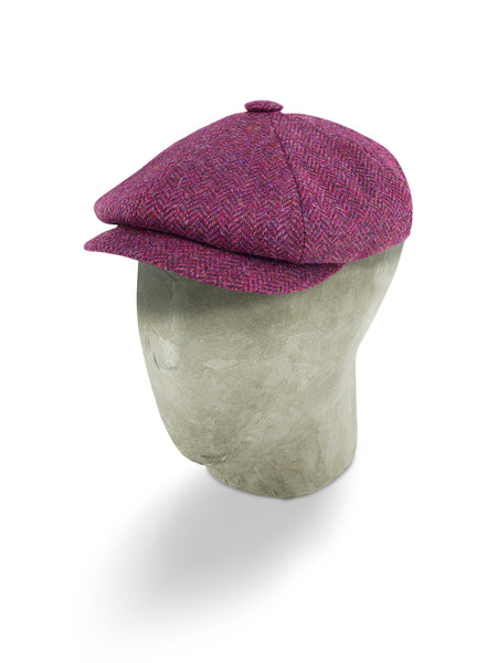 Purple Herringbone Wool Gatsby Cap