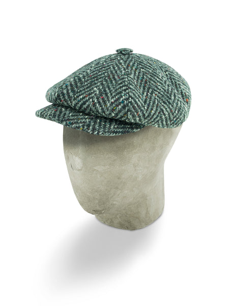 Black & Grey Herringbone Wool Gatsby Cap