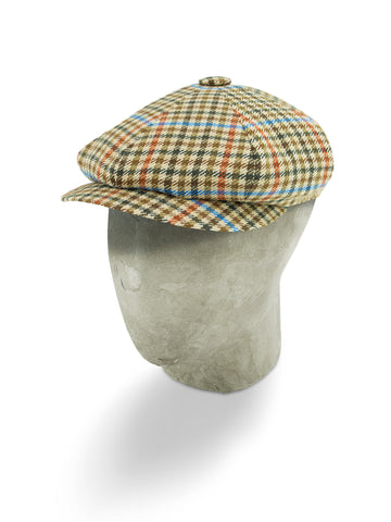 Cream Houndstooth Wool/Cashmere Mix Gatsby Cap