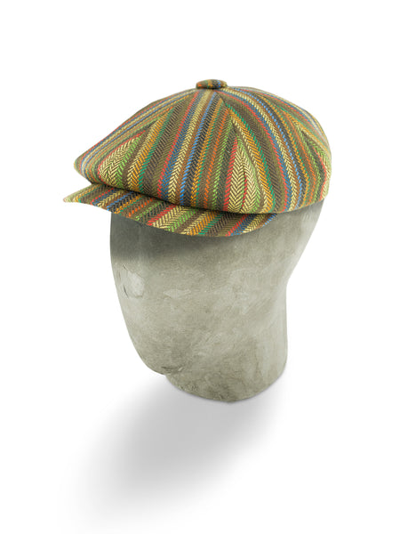 Multi-Coloured Herringbone Wool/Cashmere Mix Gatsby Cap