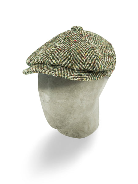 Green & Brown Woollen Herringbone Gatsby Cap