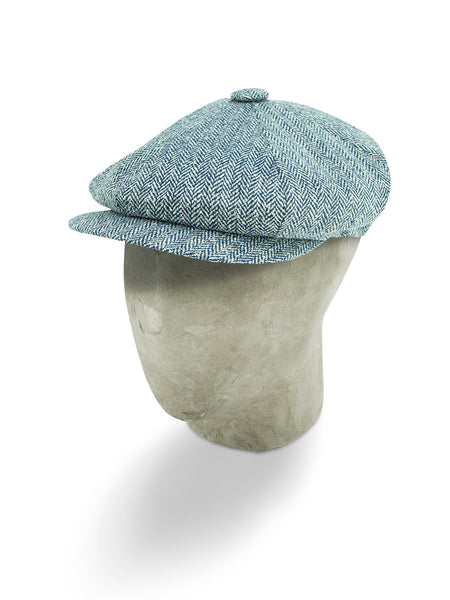 Grey Herringbone Silk Gatsby Cap