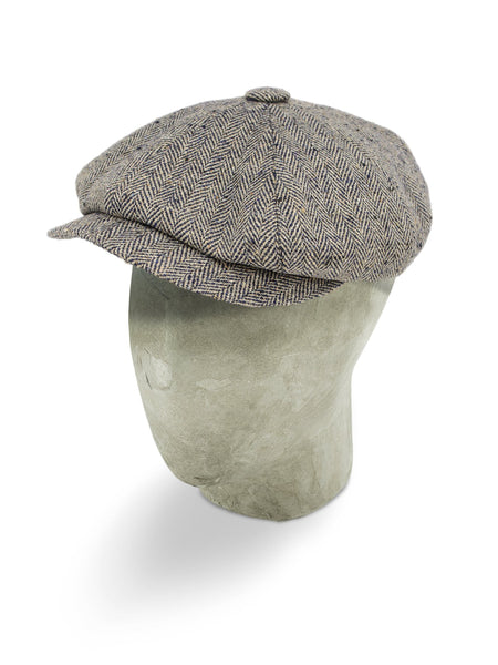 Cream Silk Herringbone Gatsby Cap