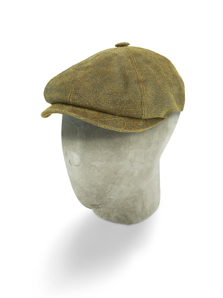 Distressed Brown Leather Gatsby Cap