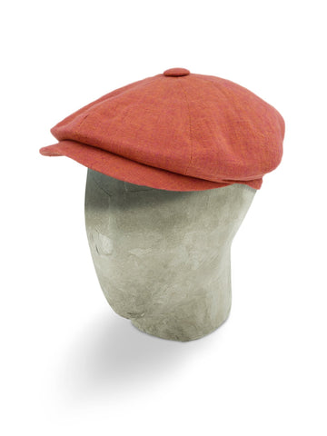 Orange Flame Linen Gatsby Cap