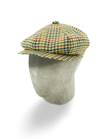 Cream & Multi-Coloured Houndstooth Cashmere/Wool Gatsby Cap