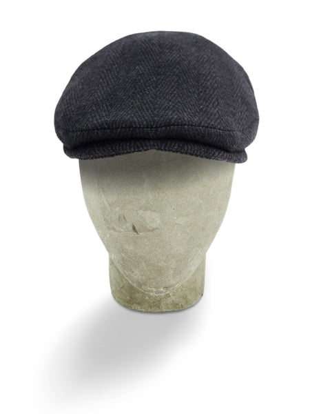 Plain Black Wool & Polyester Mix Herringbone Harlem Cap