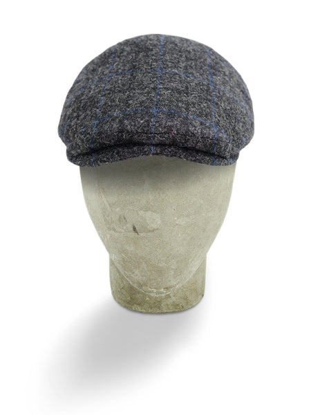 Charcoal Grey Woollen Twill With A Blue Overcheck Harlem Cap
