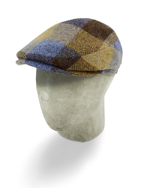 Brown, Blue & Beige Large Check Woollen Herringbone Harlem Cap