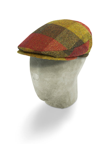 Red, Brown & Yellow Herringbone Wool Harlem Cap