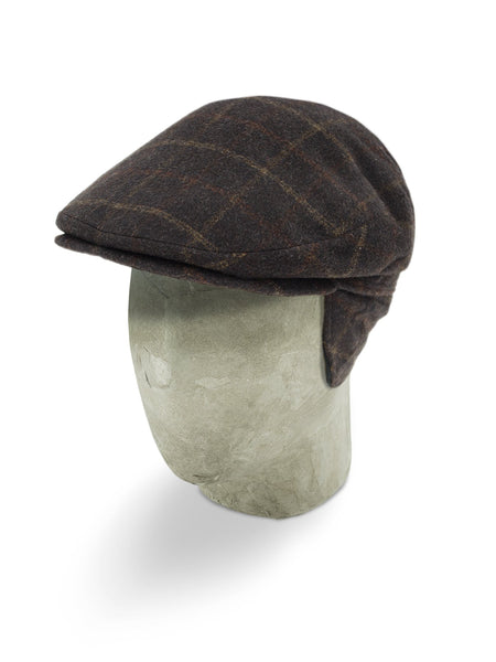 Brown Checked Loden Harlem Cap