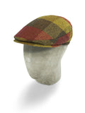 Brown, Red & Yellow Woollen Checked Herringbone Harlem Cap