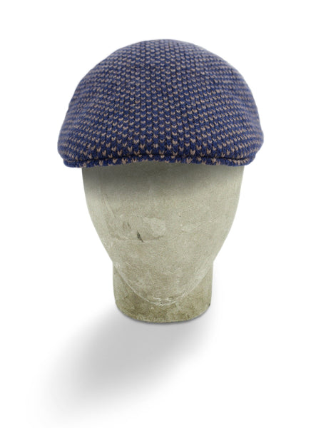 Blue & Brown Birdseye Knitted Cashmere Flat Cap