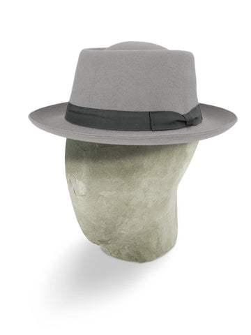 Light Grey Pork Pie Trilby