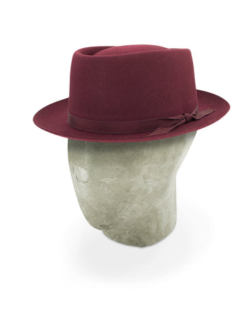 Burgundy Pork Pie Trilby