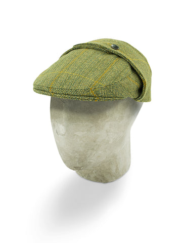 Green Herringbone Wool Rally Cap