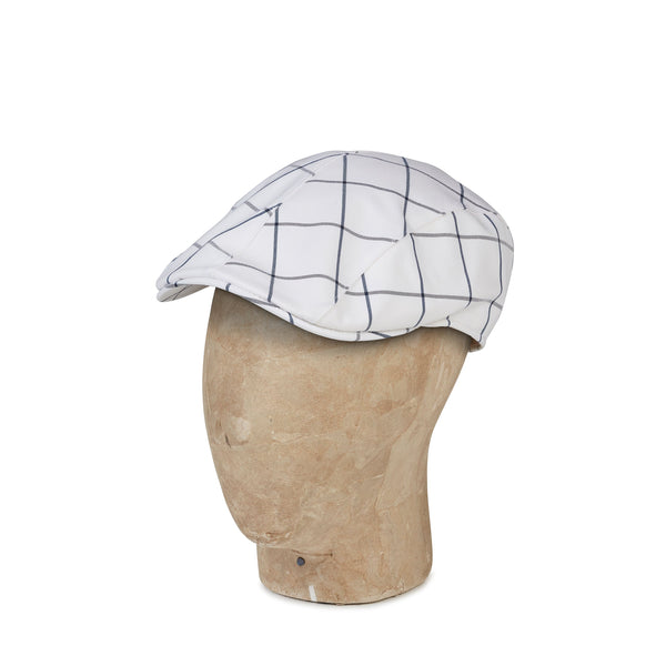 White Check Cotton Mix  Roma Cap