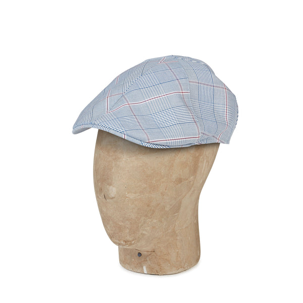 Blue & Burgundy Prince Of Wales Check Woollen  Roma Cap