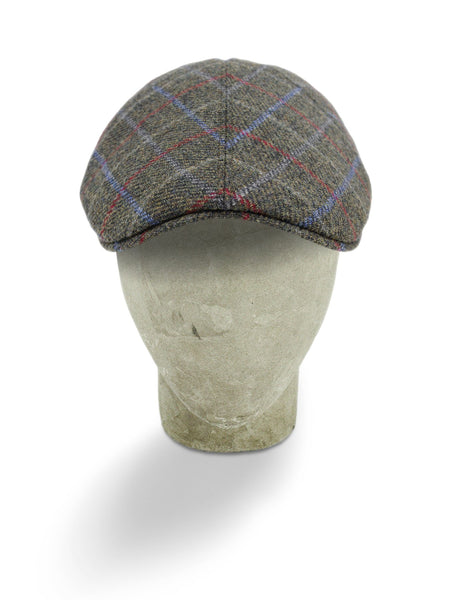 Grey Woollen Twill With A Blue & Red Overcheck Roma Cap