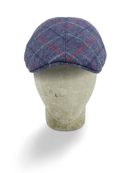Navy Woollen Twill With A Red Overcheck Roma Cap