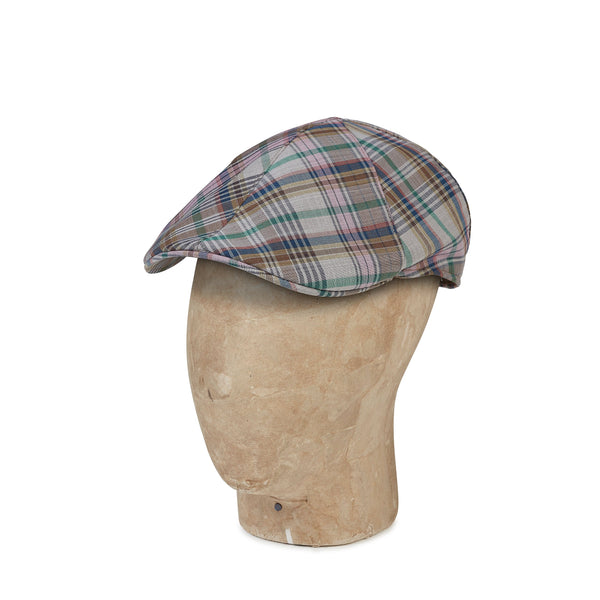 Grey Check Cotton & Polyester Mix  Roma Cap