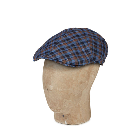 Blue Check Linen & Silk Mix  Roma Cap