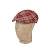 Red Check Linen & Silk Mix  Roma Cap