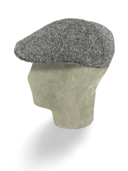 Black & White Mottle Woollen Twill Roma Cap