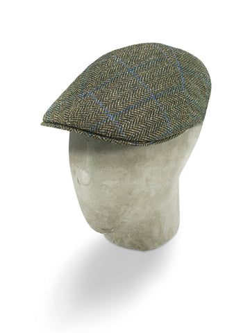 Brown Herringbone Wool/Cashmere Mix Roma Cap