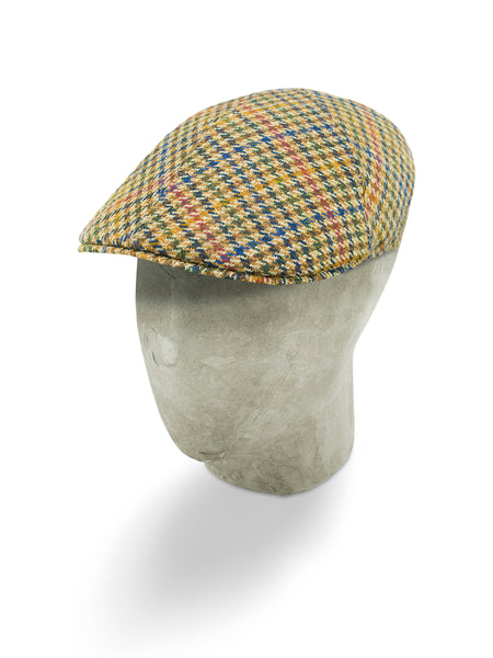 Cream Houndstooth Wool/Cashmere Roma Cap
