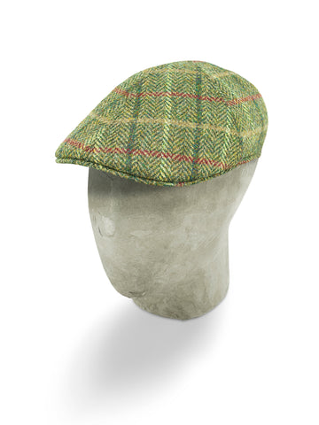 Green Herringbone Wool Roma Cap