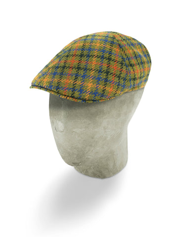 Green Houndstooth Wool Roma Cap