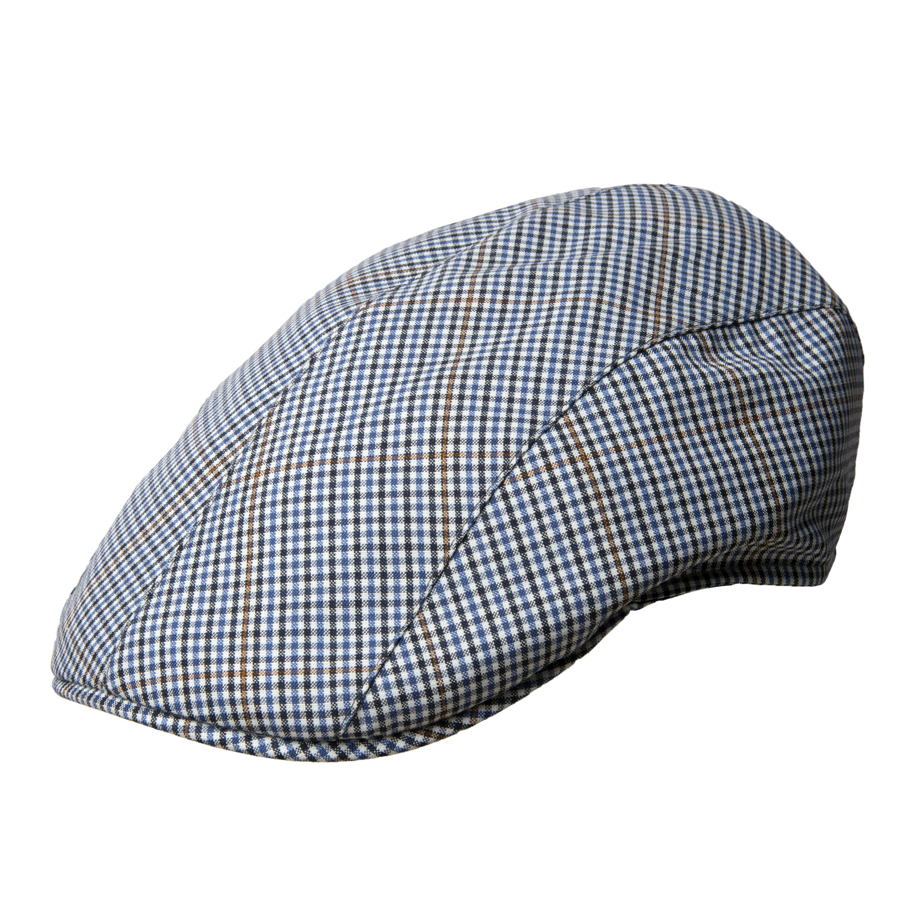 f1805cf50a98b Blue   Black Houndstooth Checked Cool Wool Roma Cap – Bates