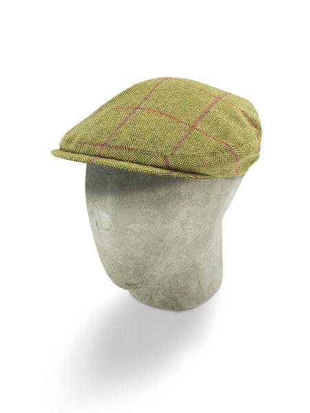 Green Woollen Herringbone Sandown Cap with a Red & Mauve Overcheck