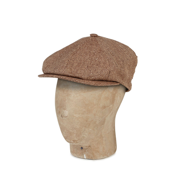 Plain Brown Silk Herringbone Toni Cap