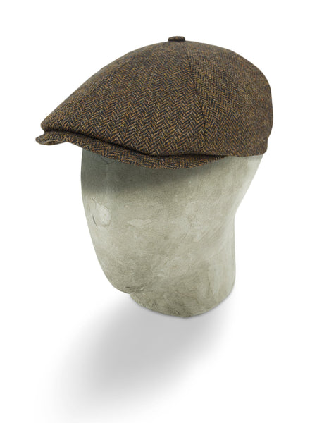 Plain Brown Woollen Herringbone Toni Cap