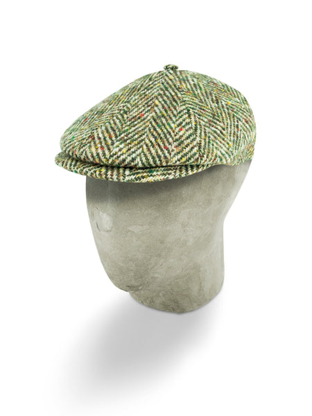 Green & Brown Woollen Herringbone Toni Cap