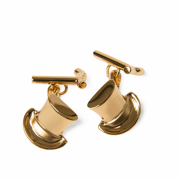 Gold Plated Top Hat & Cane Cufflinks