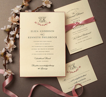 Rose Gold and Charcoal Letterpress Invite.