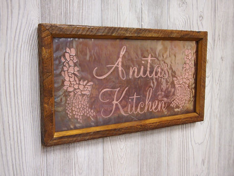"Kitchen Sign Personalized Engraved Copper (9"" x 17"")"
