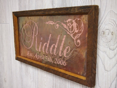 "Personalized Wedding Sign Copper Engraving (9"" x 17"")"