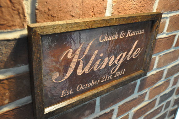Personalized Wedding Sign Copper Engraving 9 X 17 Hewn Forged