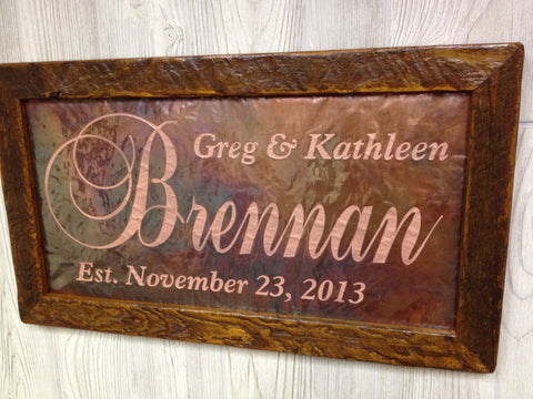 "Personalized Wedding Sign Copper Engraving Large (12"" x 22"")"